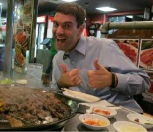 Tom enjoying Korean food